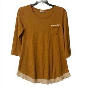 LOGOLori Goldstein Mustard Yellow Henley with lace